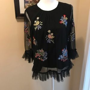 Anthropologie by Ranna Gill Daria Embroidered Top
